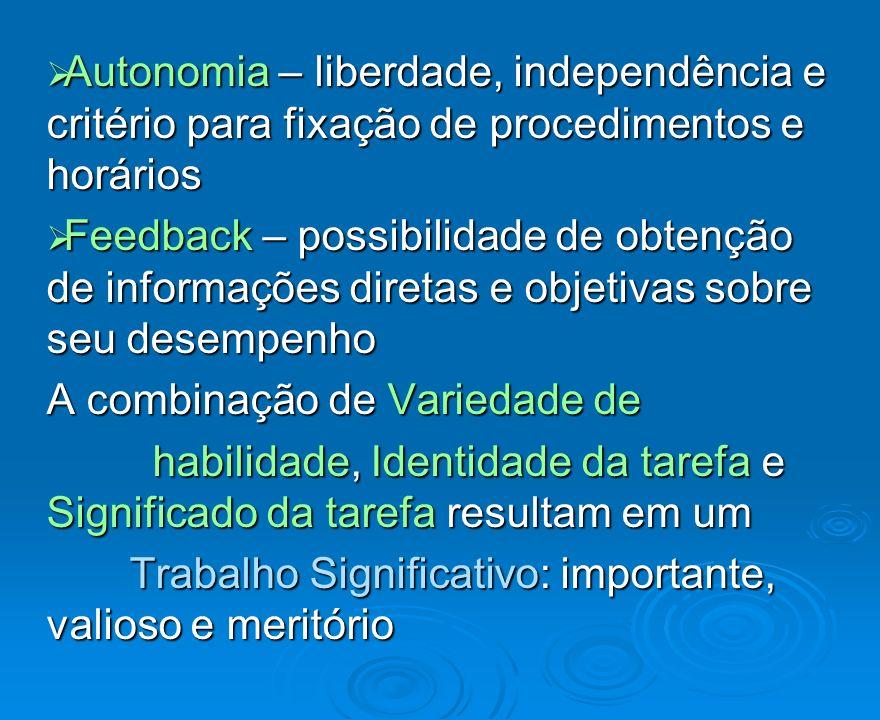 Autonomia – liberdade, independência e critério para fixação de procedimentos e horários Autonomia – liberdade, independência e critério para fixação
