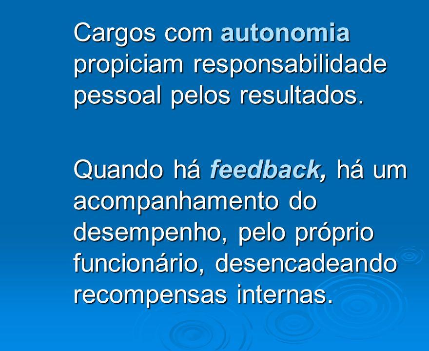 Cargos com autonomia propiciam responsabilidade pessoal pelos resultados. Quando há feedback, há um acompanhamento do desempenho, pelo próprio funcion