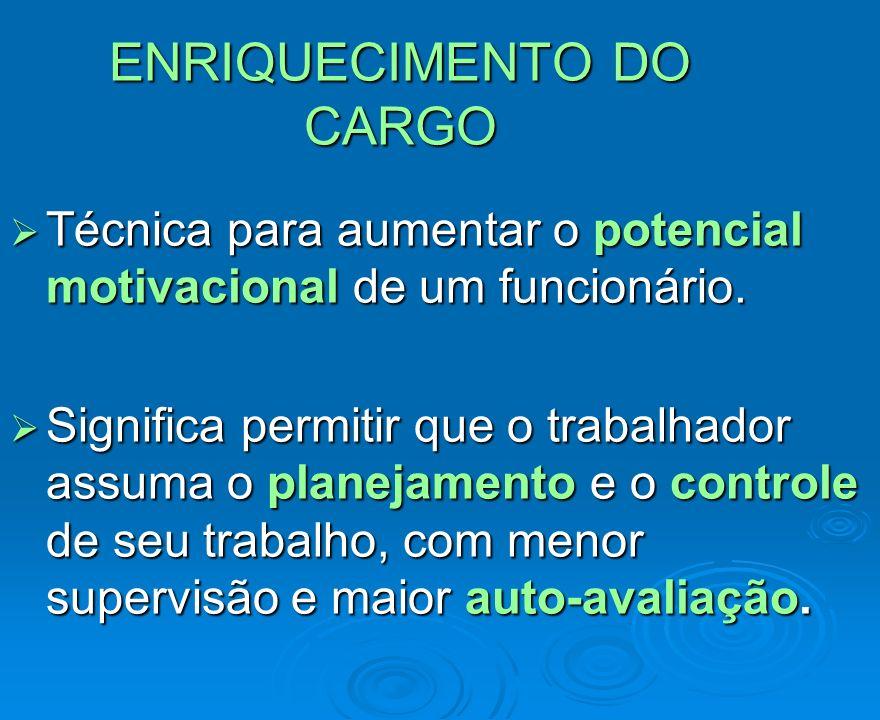 ENRIQUECIMENTO DO CARGO ENRIQUECIMENTO DO CARGO Técnica para aumentar o potencial motivacional de um funcionário. Técnica para aumentar o potencial mo