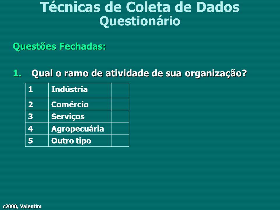 c2008, Valentim Técnicas de Coleta de Dados Questionário Questões Fechadas: 1.Qual o ramo de atividade de sua organização? 1Indústria 2Comércio 3Servi