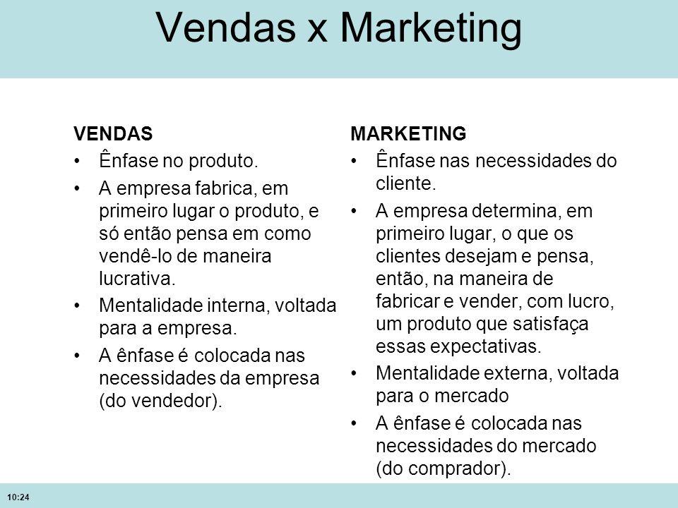 10:24 Vendas x Marketing VENDAS Ênfase no produto. A empresa fabrica, em primeiro lugar o produto, e só então pensa em como vendê-lo de maneira lucrat
