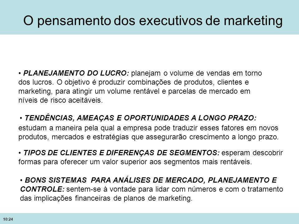 10:24 O pensamento dos executivos de marketing PLANEJAMENTO DO LUCRO: planejam o volume de vendas em torno dos lucros. O objetivo é produzir combinaçõ