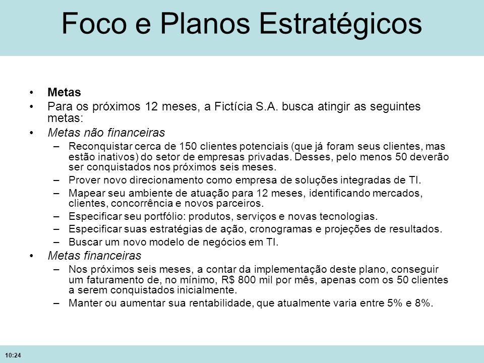 10:24 Foco e Planos Estratégicos Metas Para os próximos 12 meses, a Fictícia S.A. busca atingir as seguintes metas: Metas não financeiras –Reconquista
