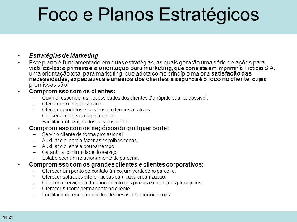 10:24 Foco e Planos Estratégicos Estratégias de Marketing Este plano é fundamentado em duas estratégias, as quais gerarão uma série de ações para viab