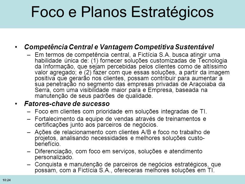10:24 Foco e Planos Estratégicos Competência Central e Vantagem Competitiva Sustentável –Em termos de competência central, a Fictícia S.A. busca ating