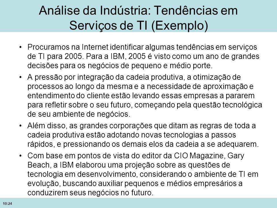 10:24 Análise da Indústria: Tendências em Serviços de TI (Exemplo) Procuramos na Internet identificar algumas tendências em serviços de TI para 2005.