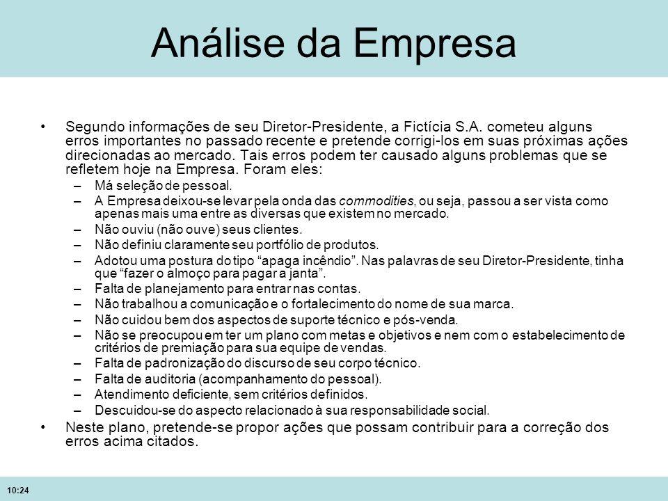 10:24 Análise da Empresa Segundo informações de seu Diretor-Presidente, a Fictícia S.A. cometeu alguns erros importantes no passado recente e pretende