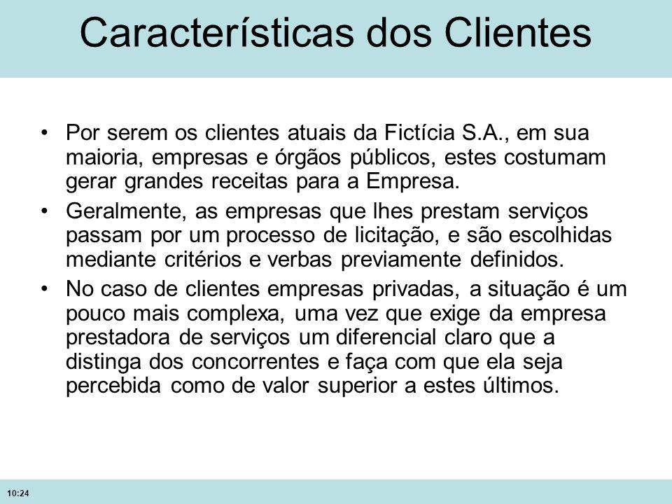 10:24 Características dos Clientes Por serem os clientes atuais da Fictícia S.A., em sua maioria, empresas e órgãos públicos, estes costumam gerar gra