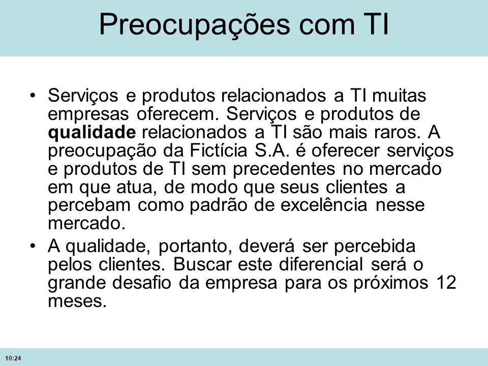 10:24 Preocupações com TI Serviços e produtos relacionados a TI muitas empresas oferecem. Serviços e produtos de qualidade relacionados a TI são mais