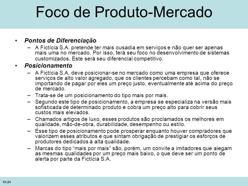 10:24 Foco de Produto-Mercado Pontos de Diferenciação –A Fictícia S.A. pretende ter mais ousadia em serviços e não quer ser apenas mais uma no mercado
