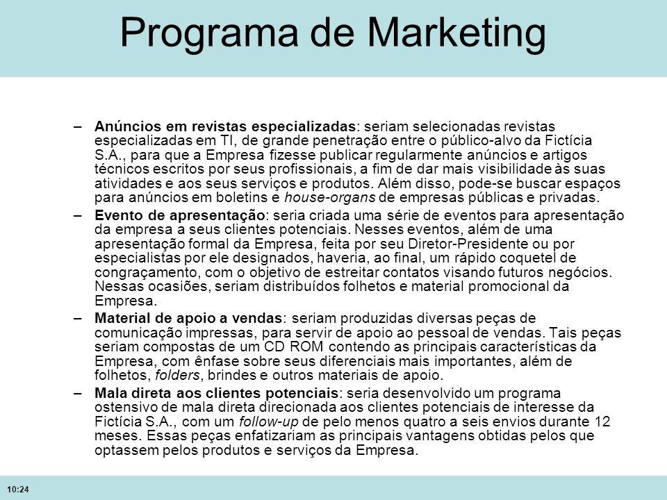 10:24 Programa de Marketing –Anúncios em revistas especializadas: seriam selecionadas revistas especializadas em TI, de grande penetração entre o públ