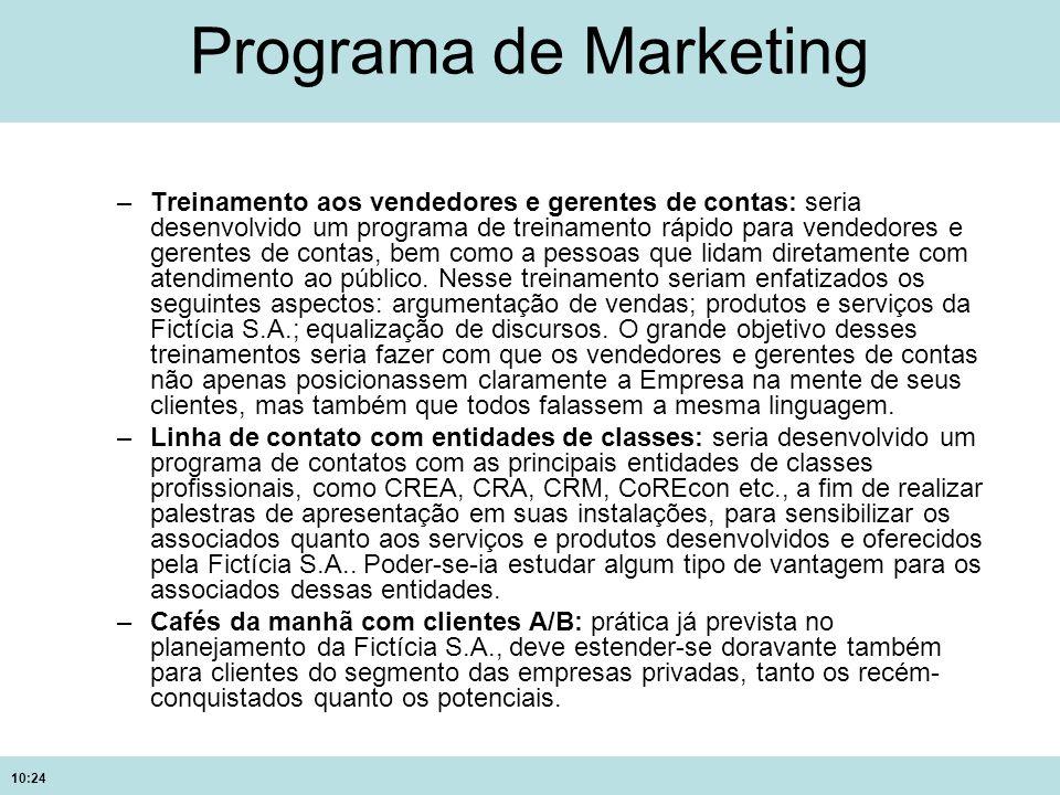 10:24 Programa de Marketing –Treinamento aos vendedores e gerentes de contas: seria desenvolvido um programa de treinamento rápido para vendedores e g