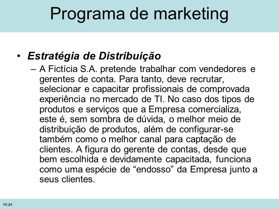 10:24 Programa de marketing Estratégia de Distribuição –A Fictícia S.A. pretende trabalhar com vendedores e gerentes de conta. Para tanto, deve recrut