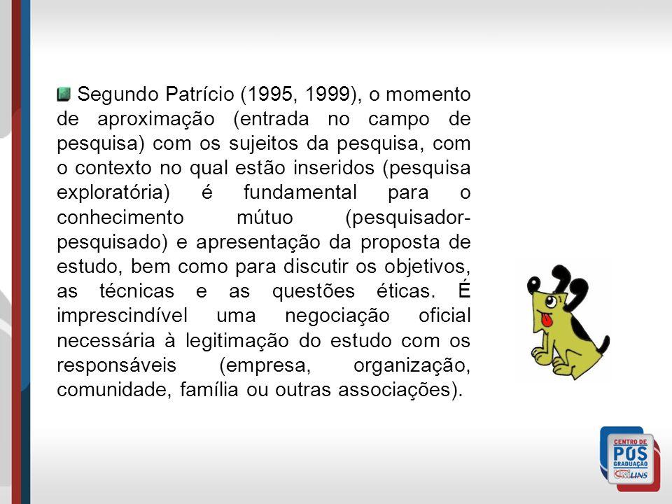 Segundo Patrício (1995, 1999), o momento de aproximação (entrada no campo de pesquisa) com os sujeitos da pesquisa, com o contexto no qual estão inser