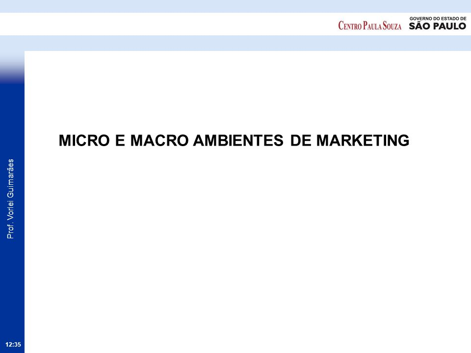 Prof. Vorlei Guimarães 12:36 MICRO E MACRO AMBIENTES DE MARKETING