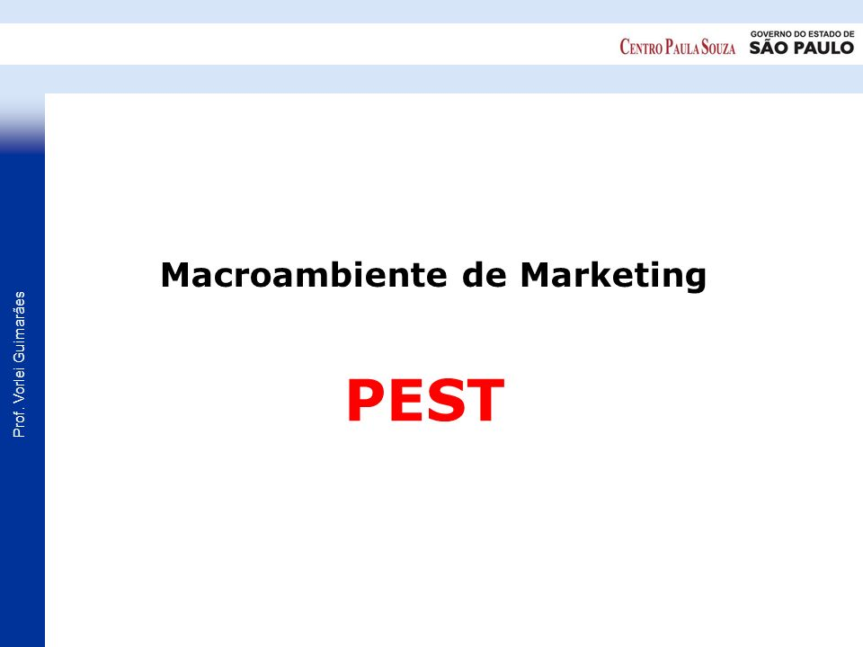 Prof. Vorlei Guimarães PEST Macroambiente de Marketing