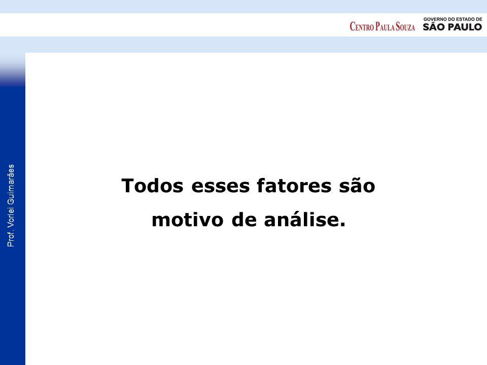 Prof. Vorlei Guimarães Todos esses fatores são motivo de análise.