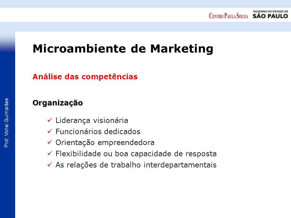 Prof. Vorlei Guimarães Análise das competênciasOrganização Liderança visionária Funcionários dedicados Orientação empreendedora Flexibilidade ou boa c