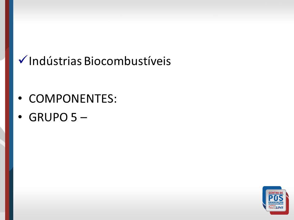 Indústrias Biocombustíveis COMPONENTES: GRUPO 5 –