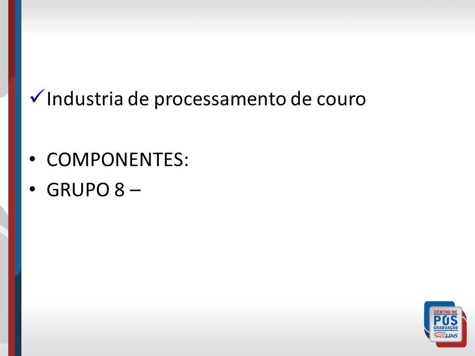Industria de processamento de couro COMPONENTES: GRUPO 8 –