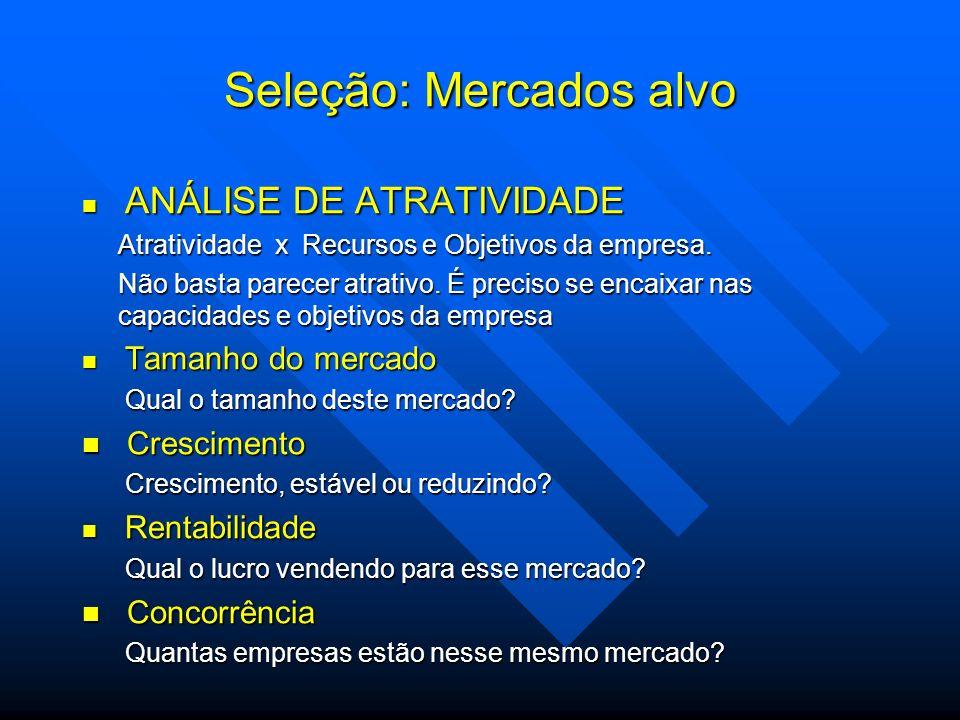 Seleção: Mercados alvo ANÁLISE DE ATRATIVIDADE ANÁLISE DE ATRATIVIDADE Atratividade x Recursos e Objetivos da empresa. Não basta parecer atrativo. É p