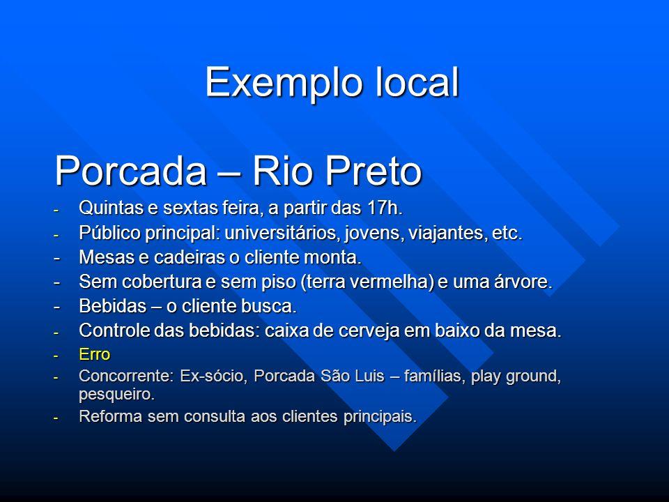 Exemplo local Porcada – Rio Preto - Quintas e sextas feira, a partir das 17h. - Público principal: universitários, jovens, viajantes, etc. -Mesas e ca