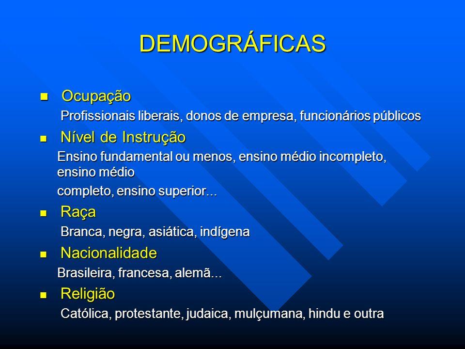 Ocupação Ocupação Profissionais liberais, donos de empresa, funcionários públicos Profissionais liberais, donos de empresa, funcionários públicos Níve