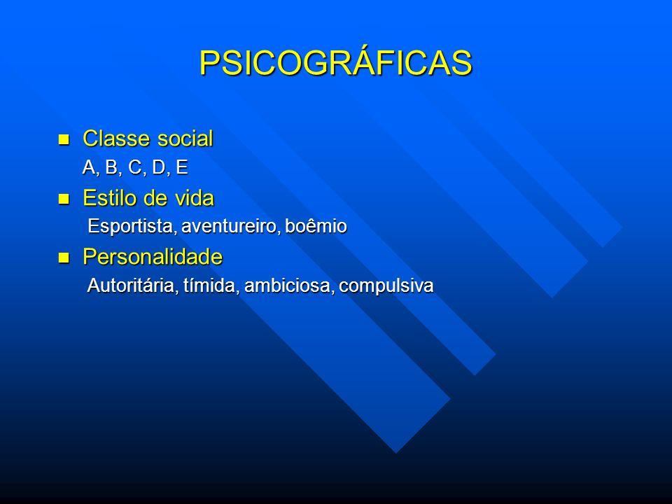 PSICOGRÁFICAS Classe social Classe social A, B, C, D, E Estilo de vida Estilo de vida Esportista, aventureiro, boêmio Esportista, aventureiro, boêmio