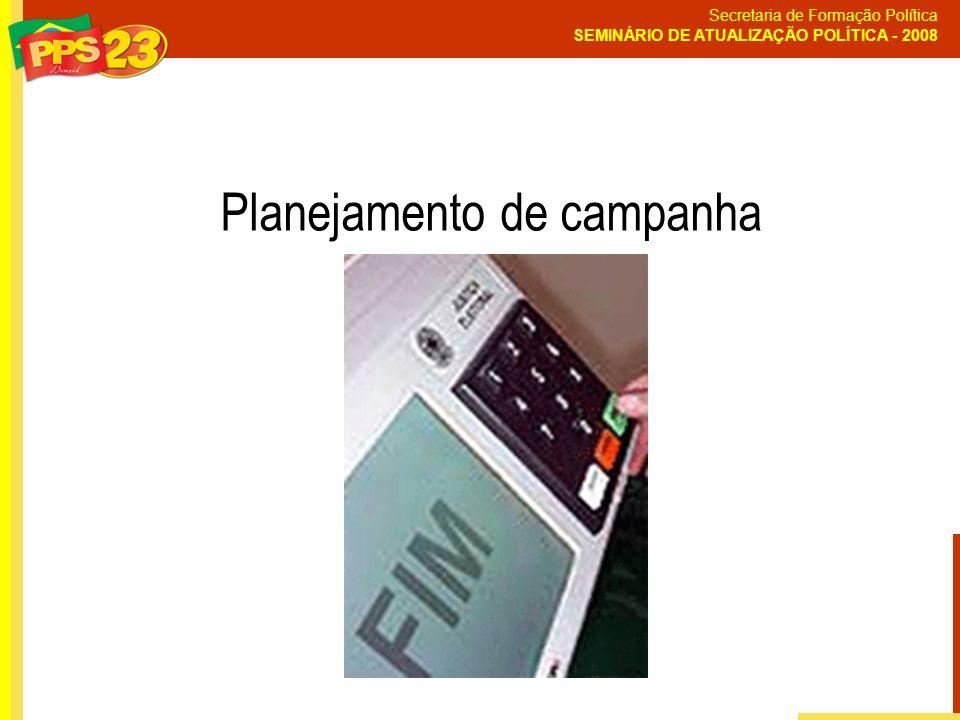 Secretaria de Formação Política SEMINÁRIO DE ATUALIZAÇÃO POLÍTICA - 2008 Planejamento de campanha