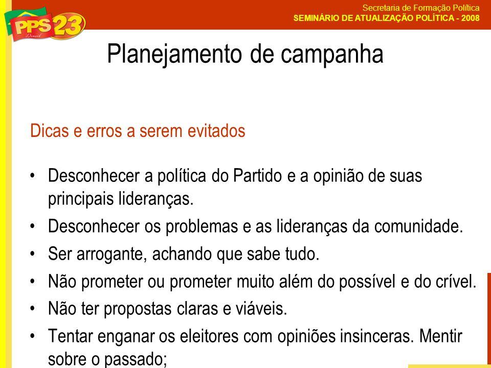 Secretaria de Formação Política SEMINÁRIO DE ATUALIZAÇÃO POLÍTICA - 2008 Desconhecer a política do Partido e a opinião de suas principais lideranças.