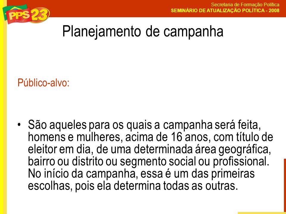 Secretaria de Formação Política SEMINÁRIO DE ATUALIZAÇÃO POLÍTICA - 2008 Planejamento de campanha São aqueles para os quais a campanha será feita, hom