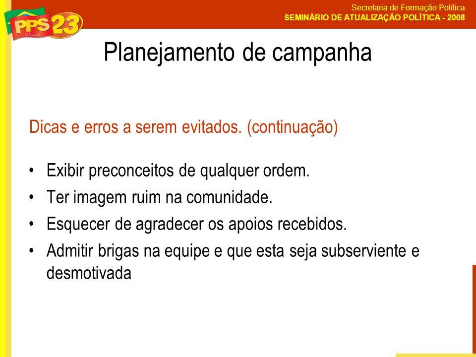 Secretaria de Formação Política SEMINÁRIO DE ATUALIZAÇÃO POLÍTICA - 2008 Exibir preconceitos de qualquer ordem. Ter imagem ruim na comunidade. Esquece