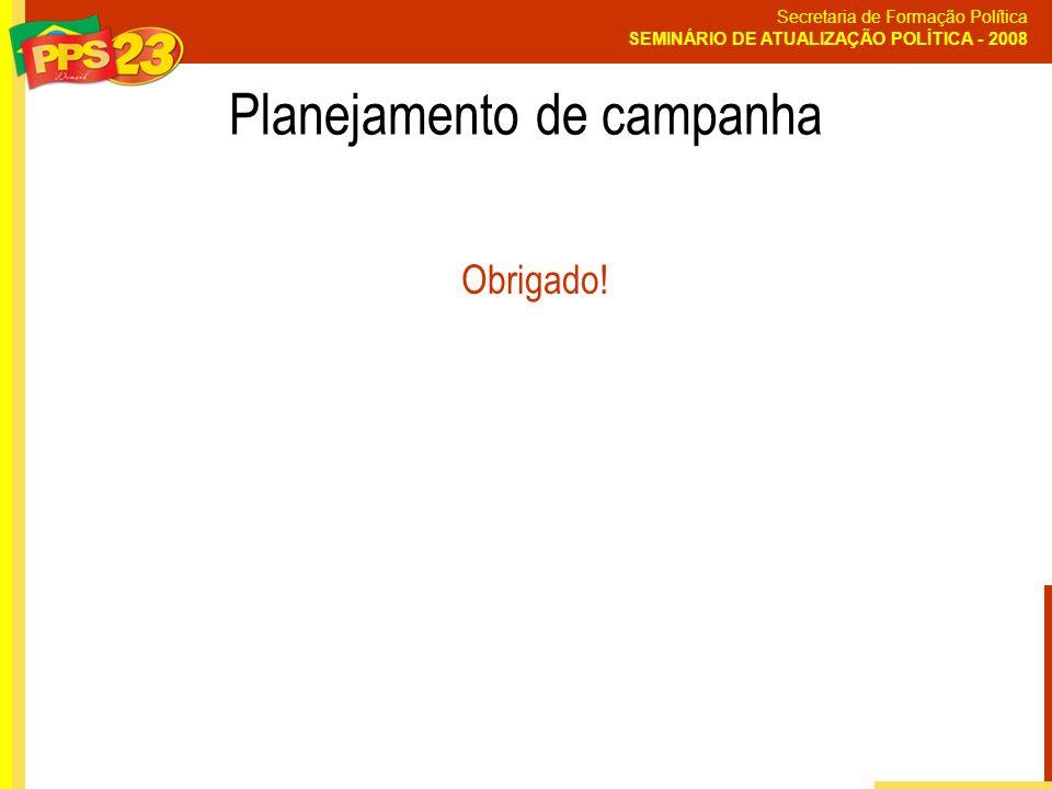 Secretaria de Formação Política SEMINÁRIO DE ATUALIZAÇÃO POLÍTICA - 2008 Planejamento de campanha Obrigado!