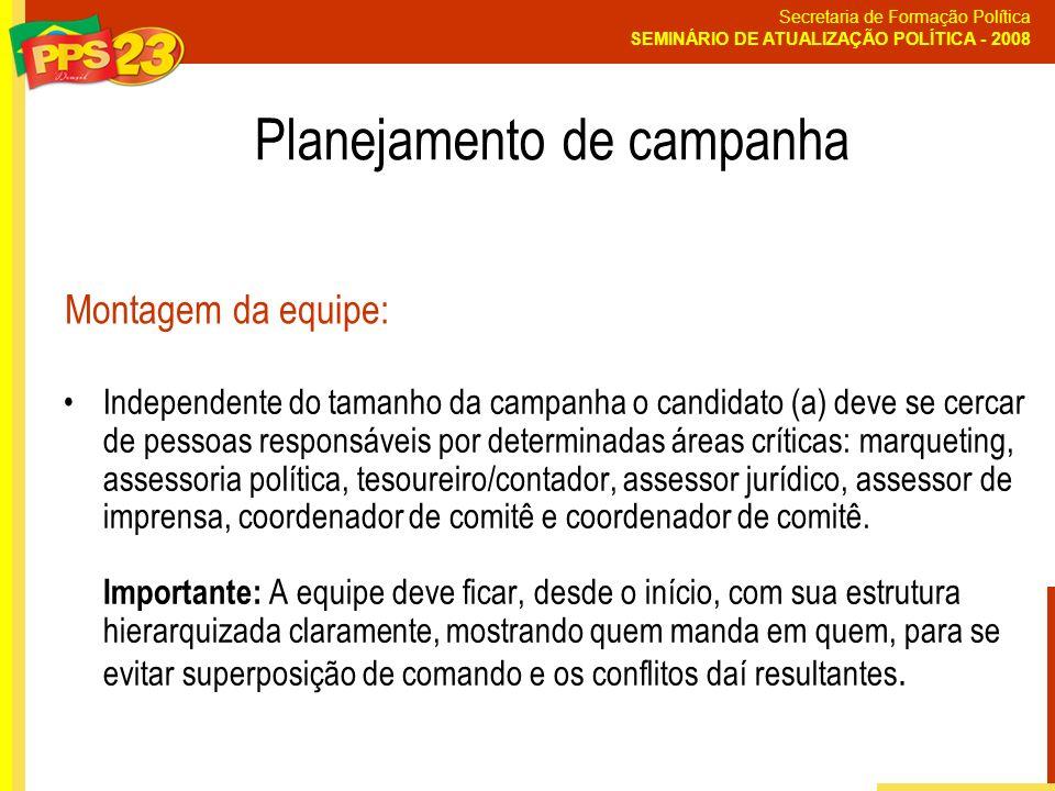 Secretaria de Formação Política SEMINÁRIO DE ATUALIZAÇÃO POLÍTICA - 2008 Independente do tamanho da campanha o candidato (a) deve se cercar de pessoas