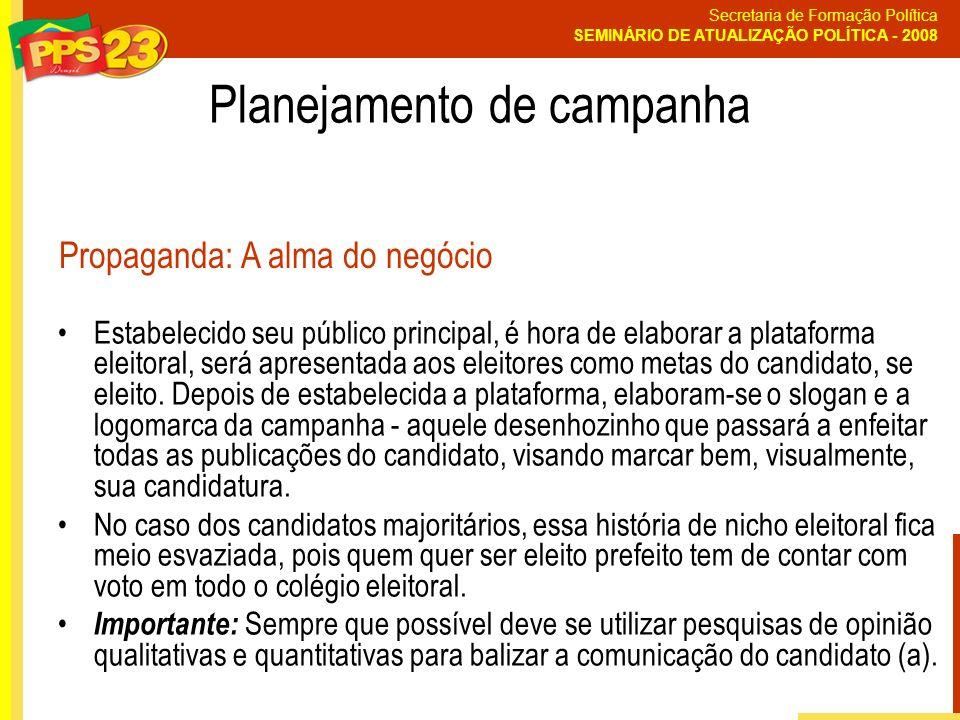 Secretaria de Formação Política SEMINÁRIO DE ATUALIZAÇÃO POLÍTICA - 2008 Estabelecido seu público principal, é hora de elaborar a plataforma eleitoral