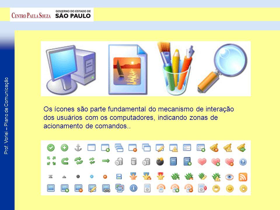 Prof. Vorlei – Plano de Comunicação Os ícones são parte fundamental do mecanismo de interação dos usuários com os computadores, indicando zonas de aci