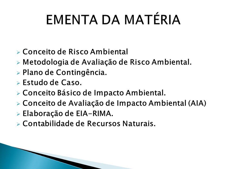 Conceito de Risco Ambiental Metodologia de Avaliação de Risco Ambiental. Plano de Contingência. Estudo de Caso. Conceito Básico de Impacto Ambiental.
