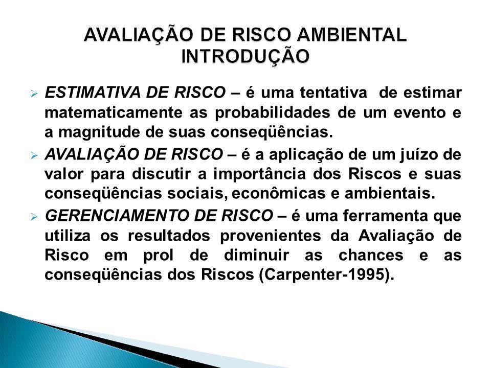 ESTIMATIVA DE RISCO – é uma tentativa de estimar matematicamente as probabilidades de um evento e a magnitude de suas conseqüências. AVALIAÇÃO DE RISC