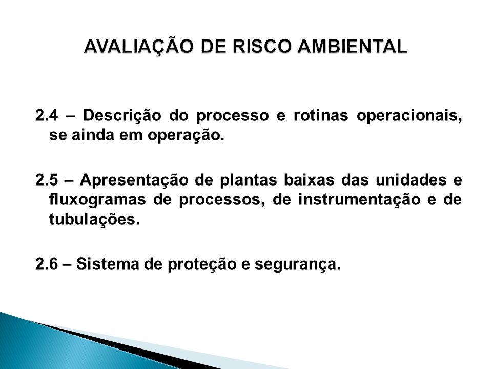 2.4 – Descrição do processo e rotinas operacionais, se ainda em operação. 2.5 – Apresentação de plantas baixas das unidades e fluxogramas de processos