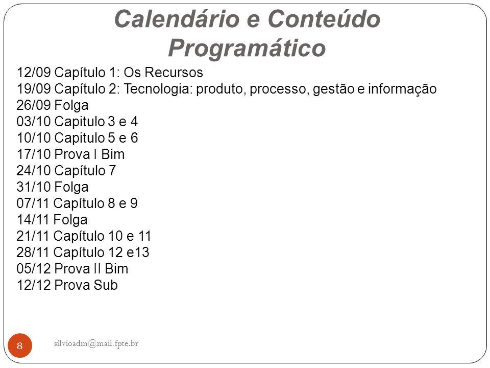 29 Visão geral dos Recursos Empresariais silvioadm@mail.fpte.br