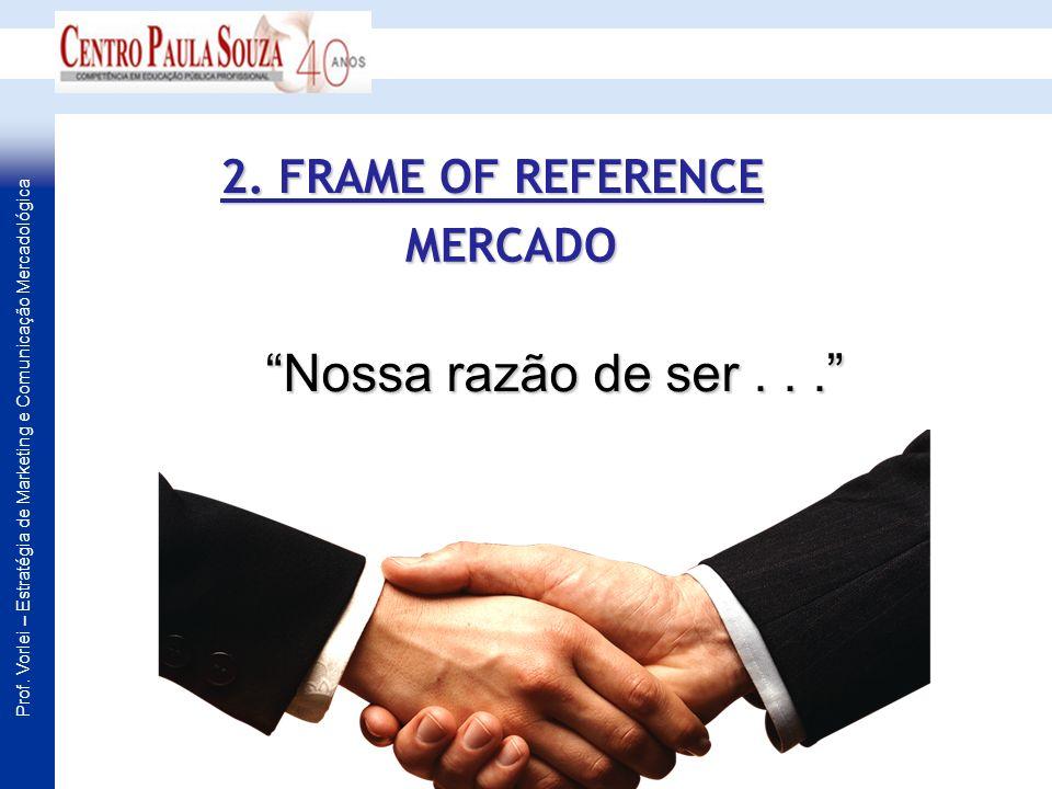Prof. Vorlei – Estratégia de Marketing e Comunicação Mercadológica MERCADO Nossa razão de ser... 2. FRAME OF REFERENCE