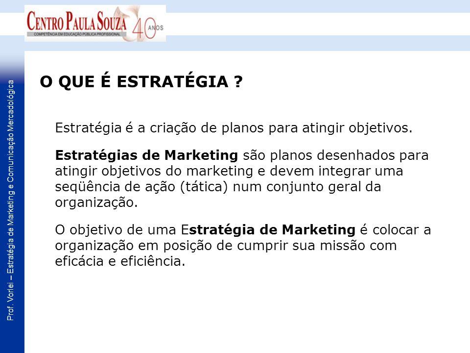 Prof. Vorlei – Estratégia de Marketing e Comunicação Mercadológica Estratégia é a criação de planos para atingir objetivos. Estratégias de Marketing s