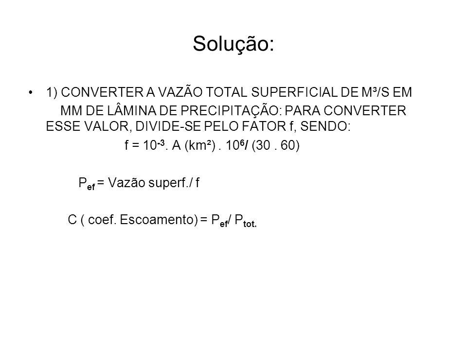 Solução: 1) CONVERTER A VAZÃO TOTAL SUPERFICIAL DE M³/S EM MM DE LÂMINA DE PRECIPITAÇÃO: PARA CONVERTER ESSE VALOR, DIVIDE-SE PELO FATOR f, SENDO: f =