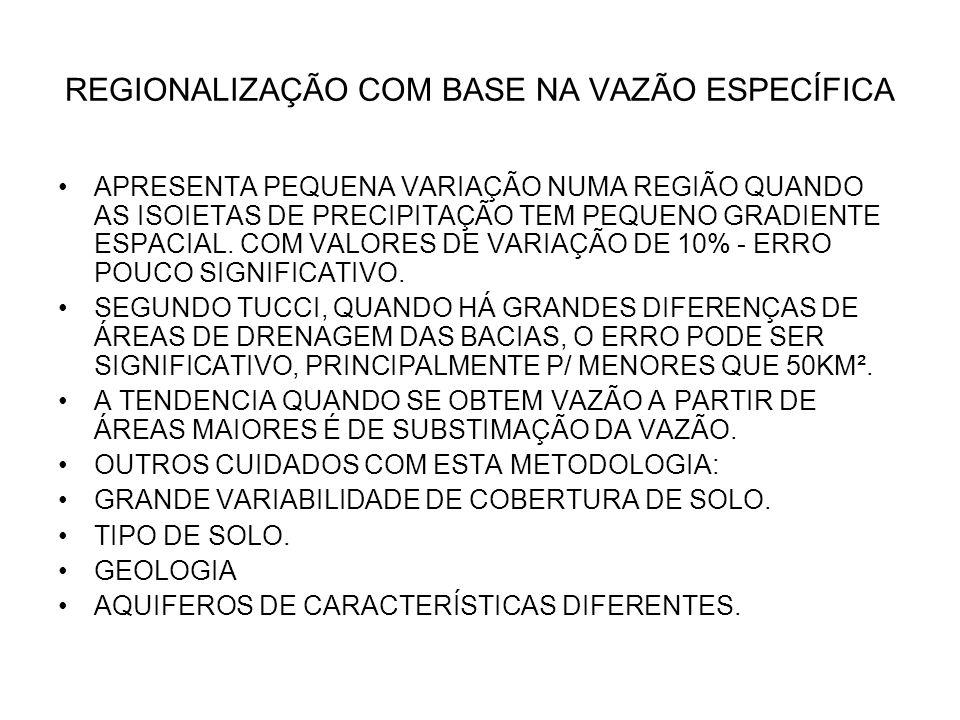 REGIONALIZAÇÃO COM BASE NA VAZÃO ESPECÍFICA APRESENTA PEQUENA VARIAÇÃO NUMA REGIÃO QUANDO AS ISOIETAS DE PRECIPITAÇÃO TEM PEQUENO GRADIENTE ESPACIAL.