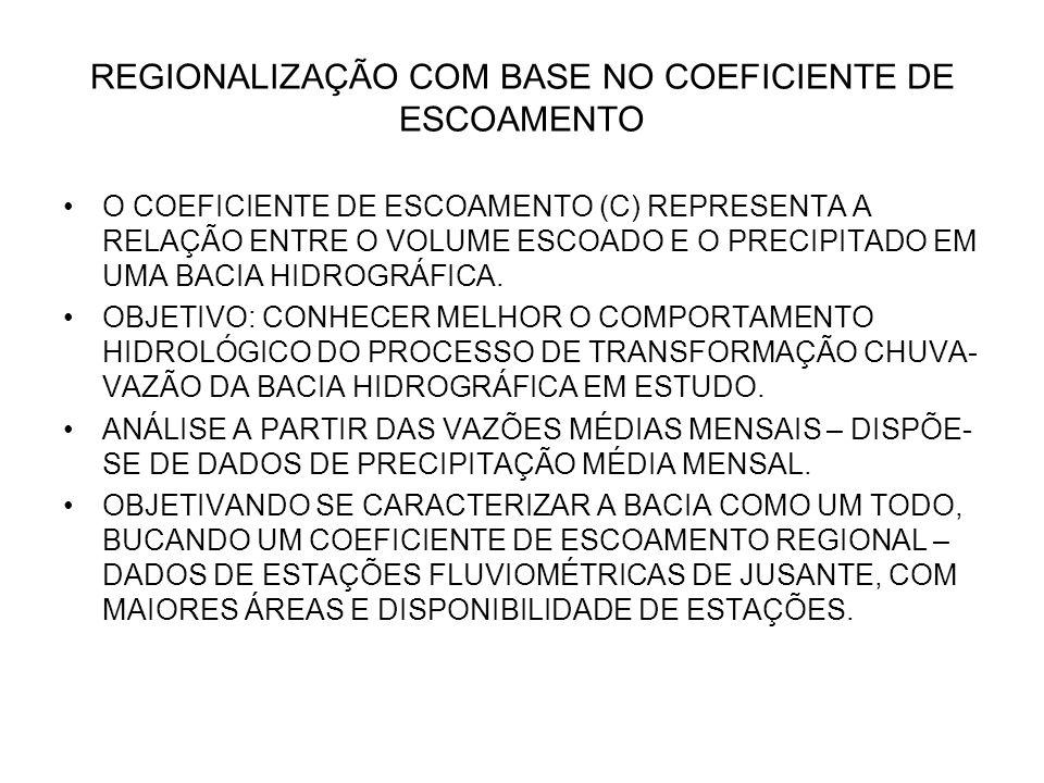 REGIONALIZAÇÃO COM BASE NO COEFICIENTE DE ESCOAMENTO O COEFICIENTE DE ESCOAMENTO (C) REPRESENTA A RELAÇÃO ENTRE O VOLUME ESCOADO E O PRECIPITADO EM UM