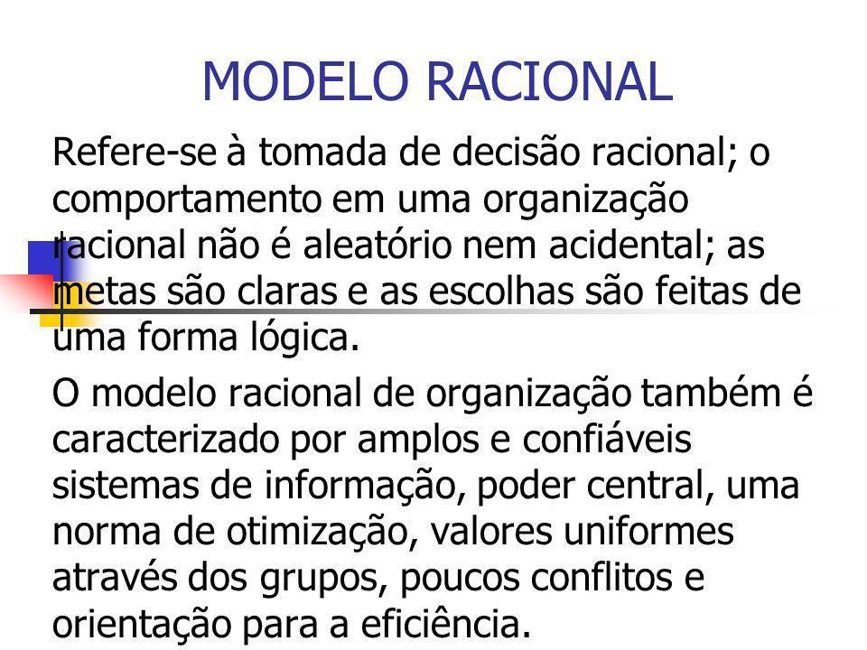 MODELO RACIONAL Refere-se à tomada de decisão racional; o comportamento em uma organização racional não é aleatório nem acidental; as metas são claras