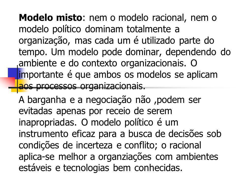 Modelo misto: nem o modelo racional, nem o modelo político dominam totalmente a organização, mas cada um é utilizado parte do tempo. Um modelo pode do