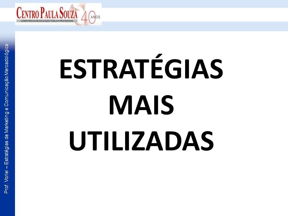 Prof. Vorlei – Estratégias de Marketing e Comunicação Mercadológica ESTRATÉGIAS MAIS UTILIZADAS