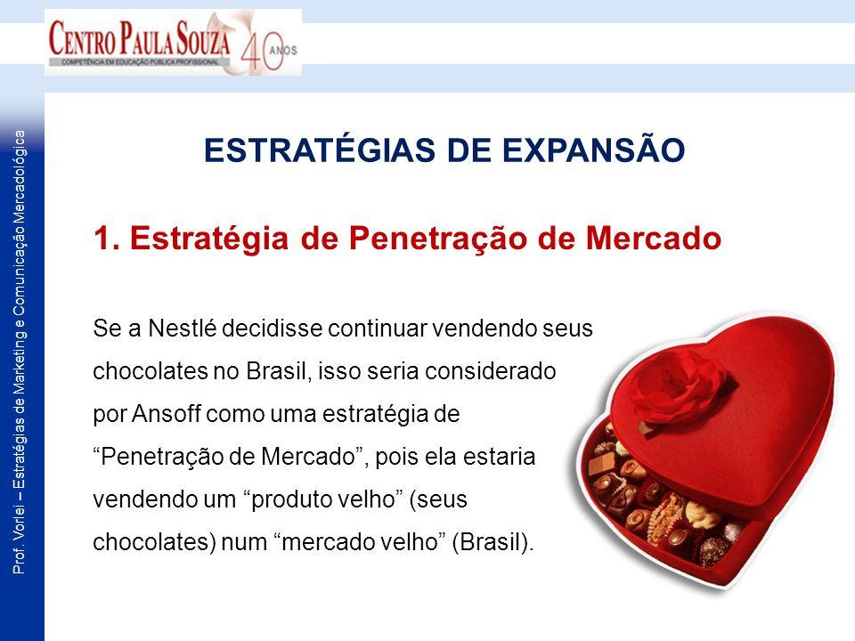 Prof. Vorlei – Estratégias de Marketing e Comunicação Mercadológica Se a Nestlé decidisse continuar vendendo seus chocolates no Brasil, isso seria con
