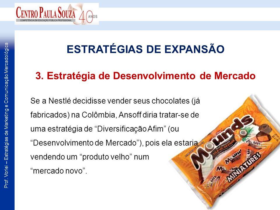 Prof. Vorlei – Estratégias de Marketing e Comunicação Mercadológica Se a Nestlé decidisse vender seus chocolates (já fabricados) na Colômbia, Ansoff d